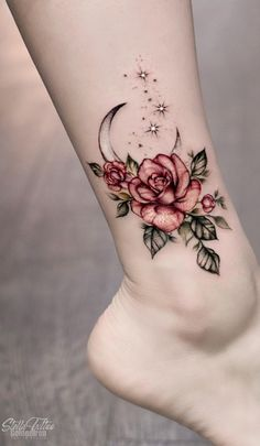 Moon & Rose Tattoo - InkStyleMag Moon & Rose Tattoo<br> Made by Stella Luo Tattoo Artists in Toronto, Canada Region Tattoos For Kids, Mom Tattoos, Star Tattoos, Finger Tattoos, Body Art Tattoos, Hand Tattoos, Celtic Tattoos, Lover Tattoos, Female Tattoos