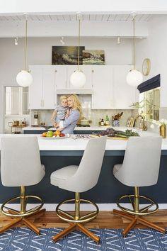 Kitchen Design - Modern Stools - Emily Henderson - Home Makeover - Good… Kitchen Rug, Kitchen Decor, Kitchen Ideas, Dirty Kitchen, Navy Kitchen, Kitchen Cabinets, Upper Cabinets, Navy Cabinets, White Cupboards