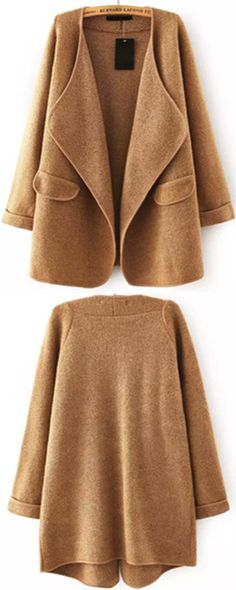 Lapel sweater coat.Whether you're living in fall or in winter, you all can wear it. This kind clothes is very practical.View more clothes for women outfits at www.shein.com