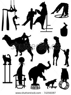 Find Collection Silhouettes Characters Circus stock images in HD and millions of other royalty-free stock photos, illustrations and vectors in the Shutterstock collection. Decoration Cirque, Circus Decorations, Carnival Themes, Vintage Carnival, Vintage Circus, Circus Crafts, Puppets For Kids, Circus Theme Party, Paper Puppets