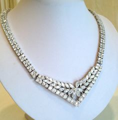 Vintage Diamond Bib Estate Jewelry Necklace by WOWTHATSBEAUTIFUL