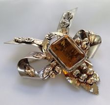 LARGE VINTAGE 1940's signed HOBE STERLING SILVER AMBER RHINESTONE BROOCH PIN