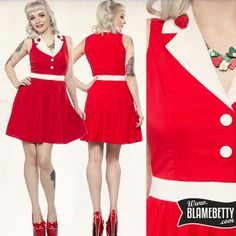 Get ready to break hearts in the adorable Strawberry June Dress! #blamebetty #pinupdress #strawberry
