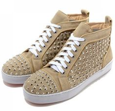 Christian Louboutin Mans Flat Leather Sneakers Beige Cheap Outlet Online Free Shopping.