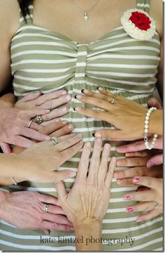 Baby shower!! We have a wedding pic like this too! All my girlies with our matching rings!!! <3