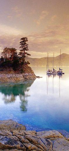 Boats at Curme Islands in Desolation Sound ~ British Columbia, Canada • photo: George Kondratov (Top View British Columbia)