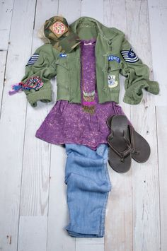 Matilda Jane Sunny Day pants paired with Vintage Army Jacket, Target Tank, Judith March Cap and Reef Flip Flops