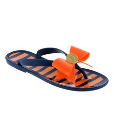 Another great find on #zulily! Dark Blue & Orange Stripe Flip-Flop #zulilyfinds