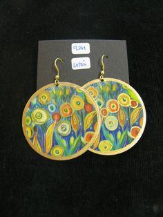 Coloridos pendientes de latón con dibujo de flores ¡Por sólo 9,20 €!