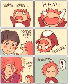 """Ponyo Loves Revolution"" refers to an exploitable animated six panel comic with… XD Studio Ghibli Films, Art Studio Ghibli, Studio Ghibli Characters, Hayao Miyazaki, Film Animation Japonais, Card Captor, Fanarts Anime, Ponyo Anime, Film D'animation"