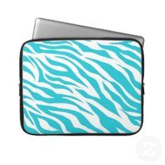 Teal Zebra Pattern Wild Animal Prints Laptop Sleeve - Pretty Pattern Gifts