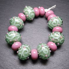 Lampwork glass 'Springtime' beads by Laura Sparling