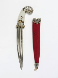 17th century Indian knife - jade w/ diamonds, rubies, emeralds, gold