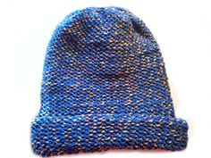 Handmade winter Beanie Hat Dark Blue/Beige, Double Yarn,Acrylic,Nylon,Soft,adjustable brim