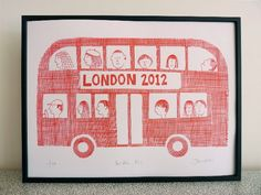 retro London Bus print