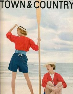 .January 1954 cover, which featured Mrs. Llewellyn Gibbons and Mrs. George H. Tilghman in beachwear inspired by lifeguard uniforms at Venice's Lido Beach.