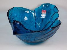Rare Vintage Circa 1973 Viking Art Glass #6983 Bluenique Chicken Shaped Serving Bowl Blue Glass Figurine Signed with Sticker Handmade in USA