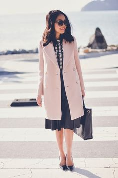Coat - J.Crew, Blouse - Equipment, Skirt - Robert Rodriguez, Ring - Elizabeth and James, Purse - Sophie Hulme, Heels - Prada, Sunglasses - Celine