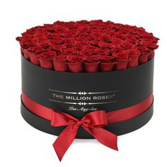 Hand crafted luxury soft touch box. About 80-90 stems of The Million ETERNITY red long lasting preserved roses. The Million Eternity rose last up to one year.