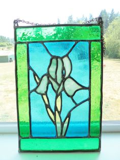 Vintage Stained Glass Handmade Hanging Picture by KathiJanes