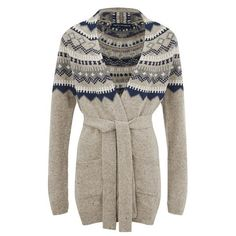 French Connection Women's Fran Fair Isle Oversized Cardigan - Oatmeal... ($165) ❤ liked on Polyvore featuring tops, cardigans, cream, open front cardigan, long brown cardigan, longline cardigan, oversized aztec cardigan and brown cardigan