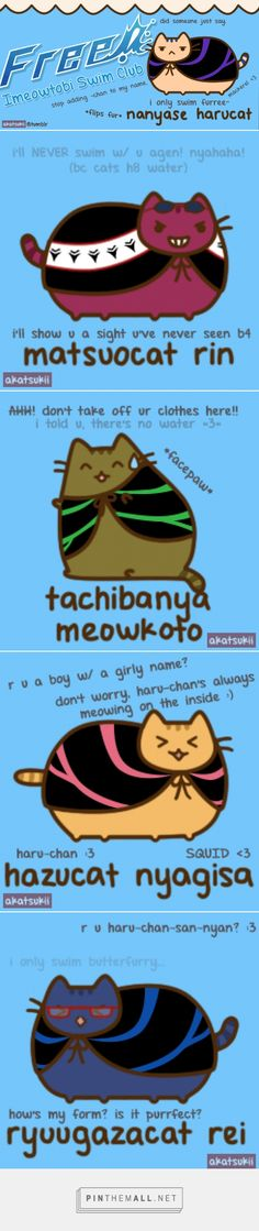 Free! Iwatobi Swimming Club x Pusheen Crossover