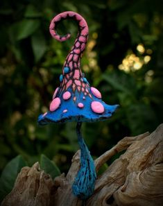 Pink blue fairy garden fantasy mushroom polymer clay by Petradi: