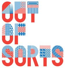 OUT OF SORTS logo made from a combination of mixed patterns and typography in Patterns