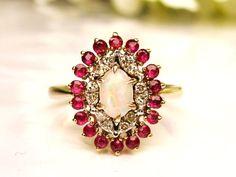 Vintage Opal & Spinel Alternative Engagement Ring 14K Gold Diamond Wedding Ring Bridal Jewelry Size 7