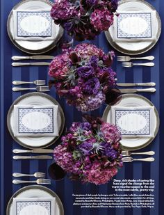 Beautiful Blooms Purple & Navy Tablescape - Philadelphia Wedding Magazine Fall/Winter 2012 - Stationery by Two Paper Dolls