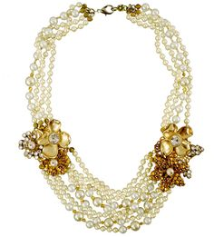 Multiple Strands of Pearls with Golden Bead and Crystal Flower Clusters, Ayana Designs