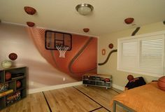 14 awesome basketball themed rooms for your youngsters pinterest rh pinterest com  basketball bedroom decorations
