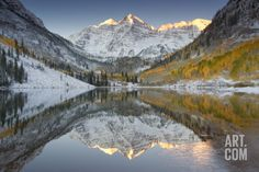 Reflections of Snow-covered Mountains and Golden Aspen Trees in a Lake Photographic Print by Robbie George at Art.com