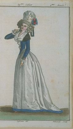 Magasin des Modes, September 1789. LOVE that blue fringe! What a surprising trim. And her cap is awesome!