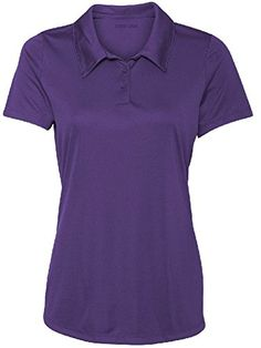 Ladies Performance 3Button Golf Polo MPurple ** Click image to review more details.