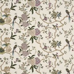 Popular cream/multi embroidery decorating fabric by G P