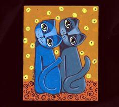 Art 'Treats' - by Cindy Bontempo (GOSHRIN) from My Cats, acrylic, 2015, The eyes will follow all you do. Do you have treats?