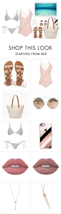 """""""Alittle of sand"""" by gorlmoria on Polyvore featuring Billabong, Marysia Swim, Chico's, Melissa Odabash, Casetify, Lime Crime and EF Collection"""