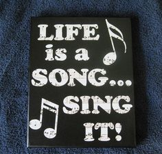 Musical Life is a Song Sing It Wall Quote Art Print Stretched 8 x 10 Canvas Vinyl Lettering