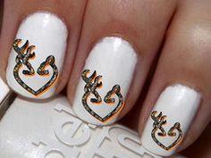 50 pc Real Oak Blaze Orange DBL Heart Buck N Doe Nail Decals Nail Art Nail Stickers Best Price NC520