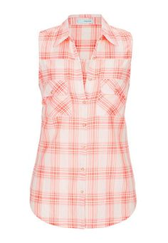 sleeveless button down shirt in plaid (original price, $26) available at #Maurices