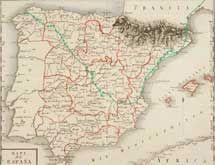 Mapa del recorrido de Humboldt por España.
