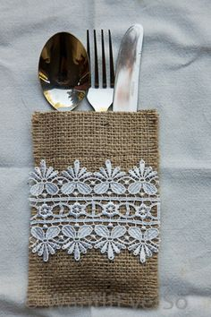 Burlap / Hessian & Lace Cutlery Holder - Perfect Home or Wedding Decoration