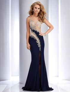 This sleeveless Clarisse Pageant Dress has an illusion bodice with gorgeous rhinestones. Shown here in navy blue.