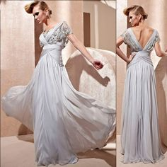 Designer Gray Grey Chiffon Lace Short Sleeve Evening Ball Gown Dresses SKU-122175