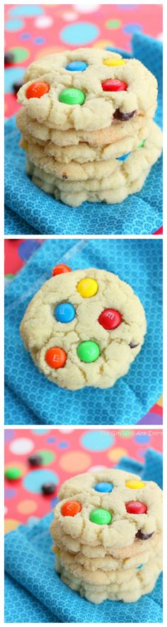 Chewy M&M Sugar Cookies - the cookies have a little cream cheese in the batter which keeps them soft. Little ones love the M&Ms. They're always the first cookies to go on a platter.