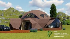 This structure can be used as a living room Green House Design, Dream Home Design, Building Exterior, Building A House, Casa Bunker, Geodesic Dome Homes, Dome House, Unique Buildings, Concept Architecture