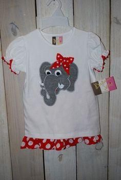 Elephant Applique Ruffle Shorts Set