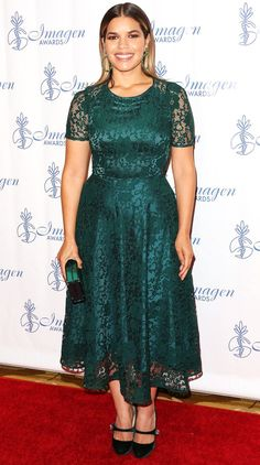 America Ferrera attends the Imagen Awards in Beverly Hills. Lace Tea Length Dress, Tea Length Dresses, Stylish Outfits, Fall Outfits, Church Outfits, Celebrity Dresses, Celebrity Style, Summer Bridesmaid Dresses, Wedding Dresses