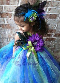 Flower Girl Peacock Tutu Dress & Matching Hair by CSIboutique, $67.99